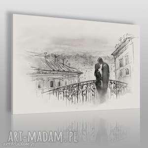obraz na płótnie - most miłość czarno-biały 120x80 cm 67102, most