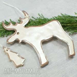 ceramika renifer - zawieszka, renifer, stare złoto, ozdoba świąteczna, zawieszka