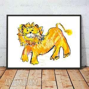 plakaty ilustracja z lwem, plakat lew dla dzieci, obrazek lwem