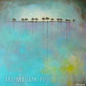 obrazy obraz na płótnie - drzewa w turkusach 30/30 cm
