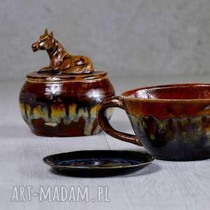 pomysł na święta upominki Ceramiczna cukiernica z figurką konia - brąz -rękodzieło