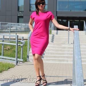 sukienki sukienka dresowa midi klasyczny krój, sukeinka, dresowa, bawełna, fuksja