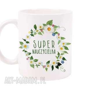 kubek super nauczycielka, kubek, filiżanka, porcelana, ceramika, dla niej, kawa