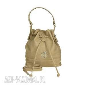 Stylowy worek torebka MANZANA luźny styl- beżowy, torebka, torba, damska,