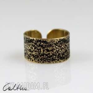 caltha piasek - mosiężny pierścionek, obrączka, uniwersalny, metalowy