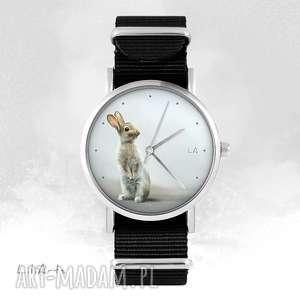 hand made zegarki zegarek - zając czarny, nato