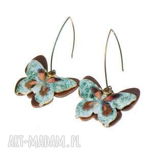 kolczyki z kolorowymi motylami c306 - kolczyki z motylami, kolorowy motyl, biżuteria z