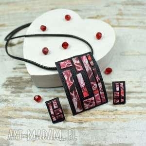 Prezent Geometria - komplet biżuterii w odcieniach czerwieni i czerni