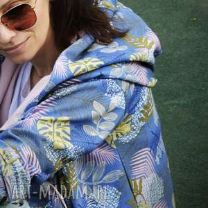 bluzy długa bluza oversize w liscie i kwiaty ogromny kaptur, kolorowa s lato