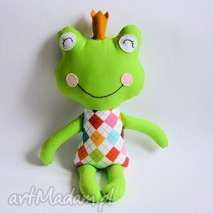 książę zaklęty w żabkę kolorowe romby, zabawka, żaba, książę, rechotek, przytulanka