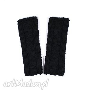 mitenki czarne z warkoczem - mitenki, warkocz, dziergane, rękawiczki, zima, jesień