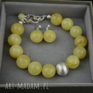 komplet biżuterii z mlecznym bursztynem srebro, bursztynem