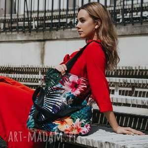 torebki fantastyczna torebka w egzotyczny wzór, palmy, kwiaty, wielobarwna