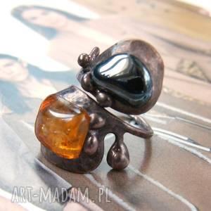 regulowany pierścionek z cytrynem i hematytem, regulowany, miedziany, kamienie