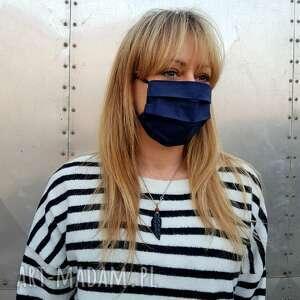 ciemny granat maseczka ochronna do twarzy kosmetyczna bawełna szpitalna