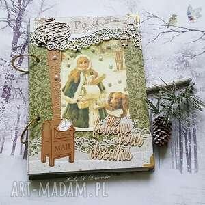 Pamiętnik w stylu vintage na zimowe zapiski scrapbooking notesy