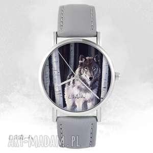 zegarek - szary wilk szary, skórzany, zegarek, bransoletka
