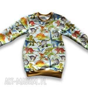 handmade dinozaury długa bluza dla dziewczynki, prosta tunika z dresówki, rozmiary