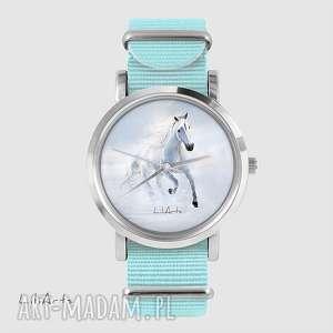 handmade zegarki zegarek, bransoletka - biały koń biegnący niebieski