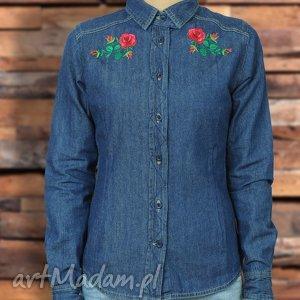 Damska koszula ROSE z długim rękawem haftem, koszula, damska, folk, denim