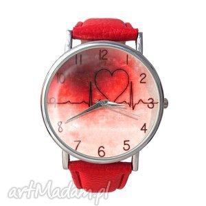 zegarki bicie serca - skórzany zegarek z dużą tarczą, bicie, serca, serce