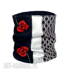 ekskluzywny szal-komin z ręcznie malowanymi kwiatami - artystyczny, maki, kwiaty