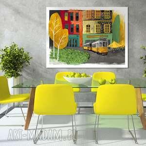 obraz na płótnie - żółtym tramwajem przez piękną lizbonę, format 70x50