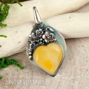 Amber heart srebrny wisoirek z mlecznym bursztynem a698, wisiorek-z-bursztyne