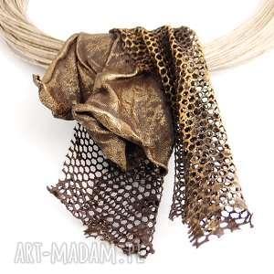 Prezent Kobiecy artystyczny naszyjnik lniany, naszyjnik, biżuteria