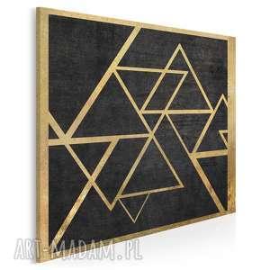 obraz na płótnie - trójkąty złoto w kwadracie 80x80 cm 34602
