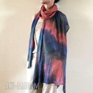 ręcznie zrobione szaliki szal lniany kolorowy