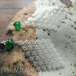 ręcznie robione klipsy długie duże boho kolor zielono - srebrne -box x1 na 10