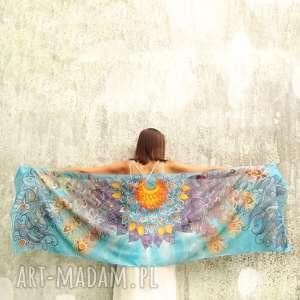 duży szal jedwabny ręcznie malowany skrzydła, jedwabny, jedwab