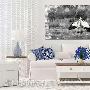obraz xxl bociany 2 - 120x70cm na płótnie ptak, obraz, płótnie