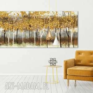 nowoczesny obraz do salonu drukowany na płótnie z drzewami - jesiaenny pejzaż duży