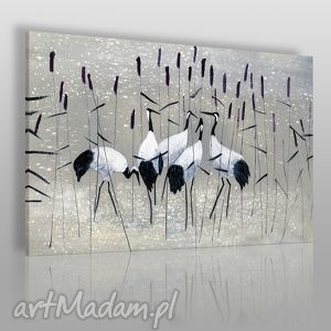 Obraz na płótnie - ŻURAWIE NAD WODĄ 120x80 cm (38201), żurawie, ptaki, staw, woda