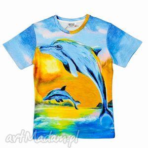 artystyczny t-shirt - malowane delfiny jakość premium, artystyczna, odzież, dellfiny