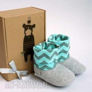 ręczne wykonanie buty bambosze z golfem / hand made / jasny szary & mięta