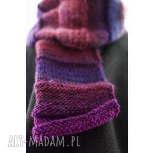 szalik we fioletach, szal, prezent, cieniowany, zimowy ciepły