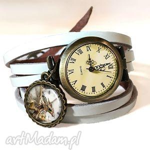 handmade zegarki steampunkowy smok - zegarek / bransoletka na skórzanym pasku