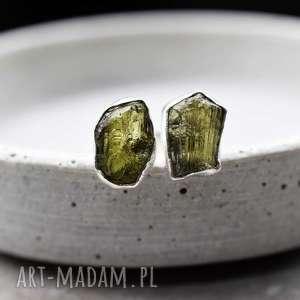 925 srebrny pierścionek z surowym mołdawitem, kamień, szmaragd, zieleń