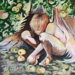 anioł w sadzie obraz akrylowy na płótnie 90x70cm artystki adriany laube