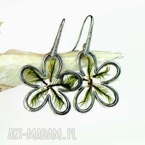 Prezent c545 Kolczyki kwiaty z prawdziwym mchem, kolczyki-z-mchem, biżuteria-z-mchem
