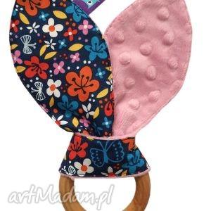 gryzak wooden ring - motyw kwiaty - gryzak, ekogryzak, kwiaty, minky, niemowlak, dziecko