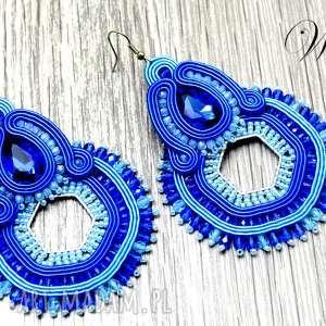 KOLCZYKI SUTASZ W KOLORZE BLUE, eleganckie, modne