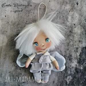 unikalny, aniołek - zawieszka, lalka z tkaniny, malowana ręcznie