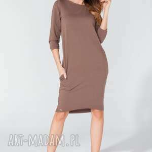sukienki sukienka midi z kieszeniami na biodrach t105 kolor brązowy - tessita