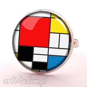 mondrian - pierścionek regulowany, artystyczny, szklany