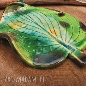 shiraja ceramiczny liść, podstawka c299, podstawka, ceramika, junglestyle
