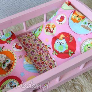 Drewniane łóżeczko dla lalek - ,łóżeczko,lalka,pościel,zabawki,kołyska,miś,